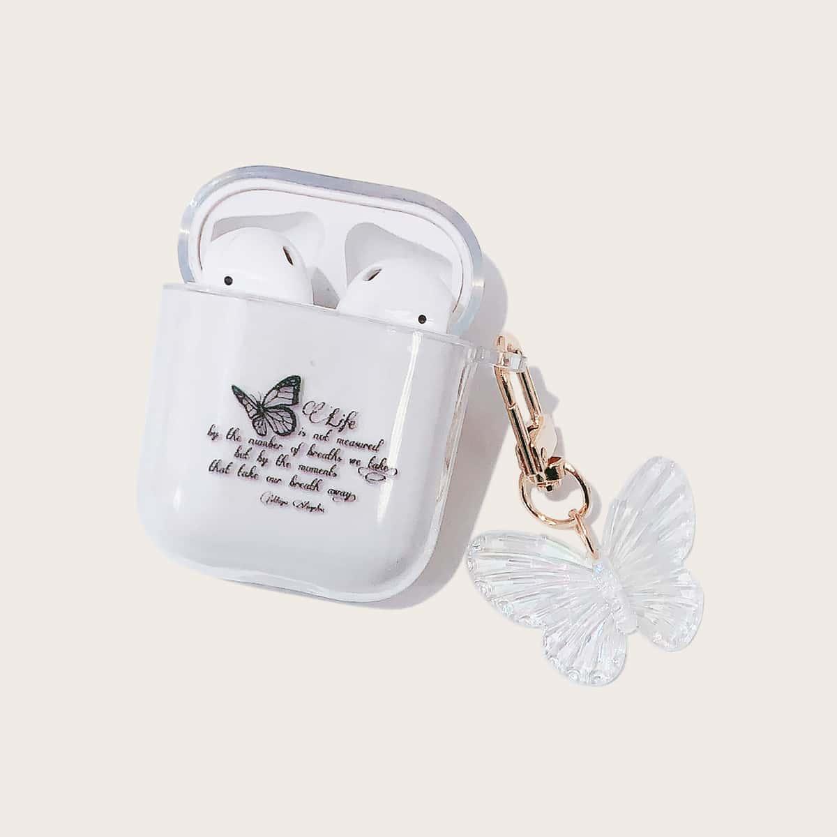 Прозрачный чехол для Airpods с бабочкой
