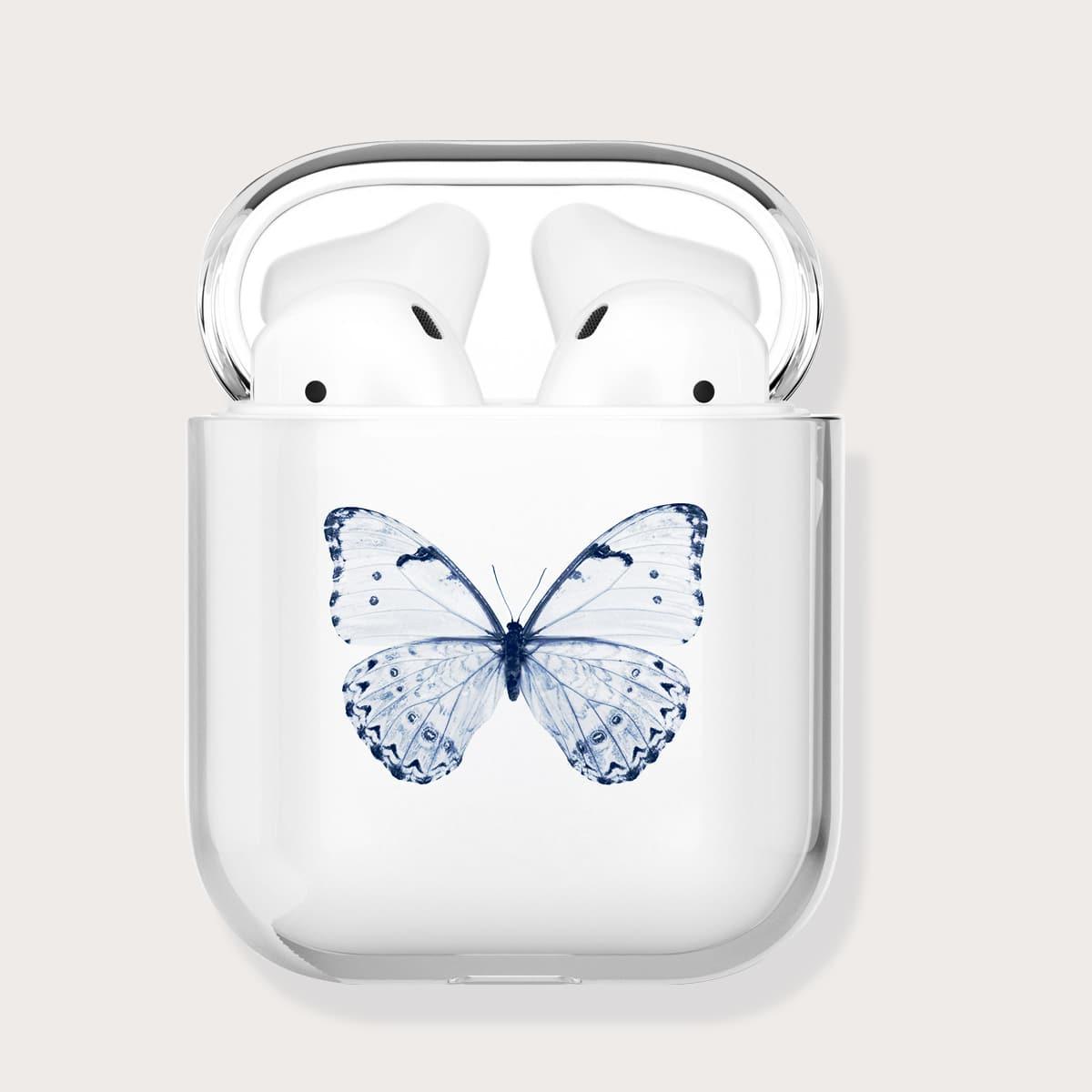 Прозрачный чехол для Airpods с принтом бабочки