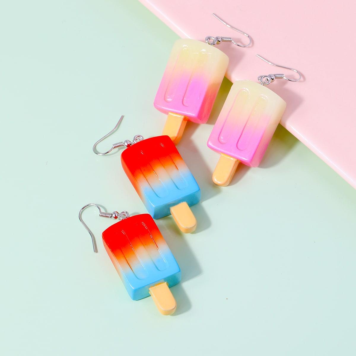 2 пары серьги-подвески с эскимо для девочек