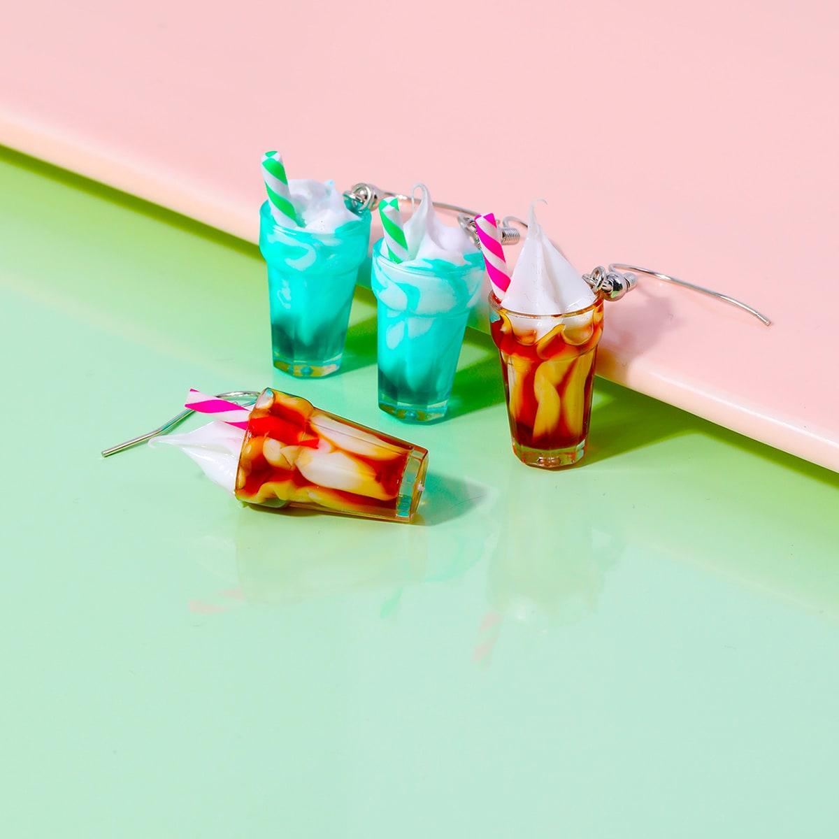 2 пары серьги-подвески с молочным коктейлем для девочек