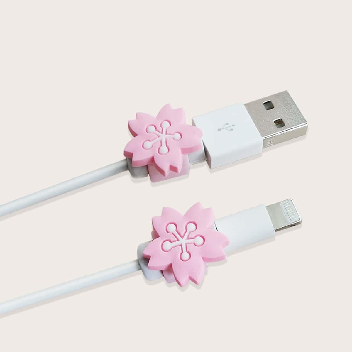 2шт силиконовый протектор для кабеля передачи данных в форме цветка