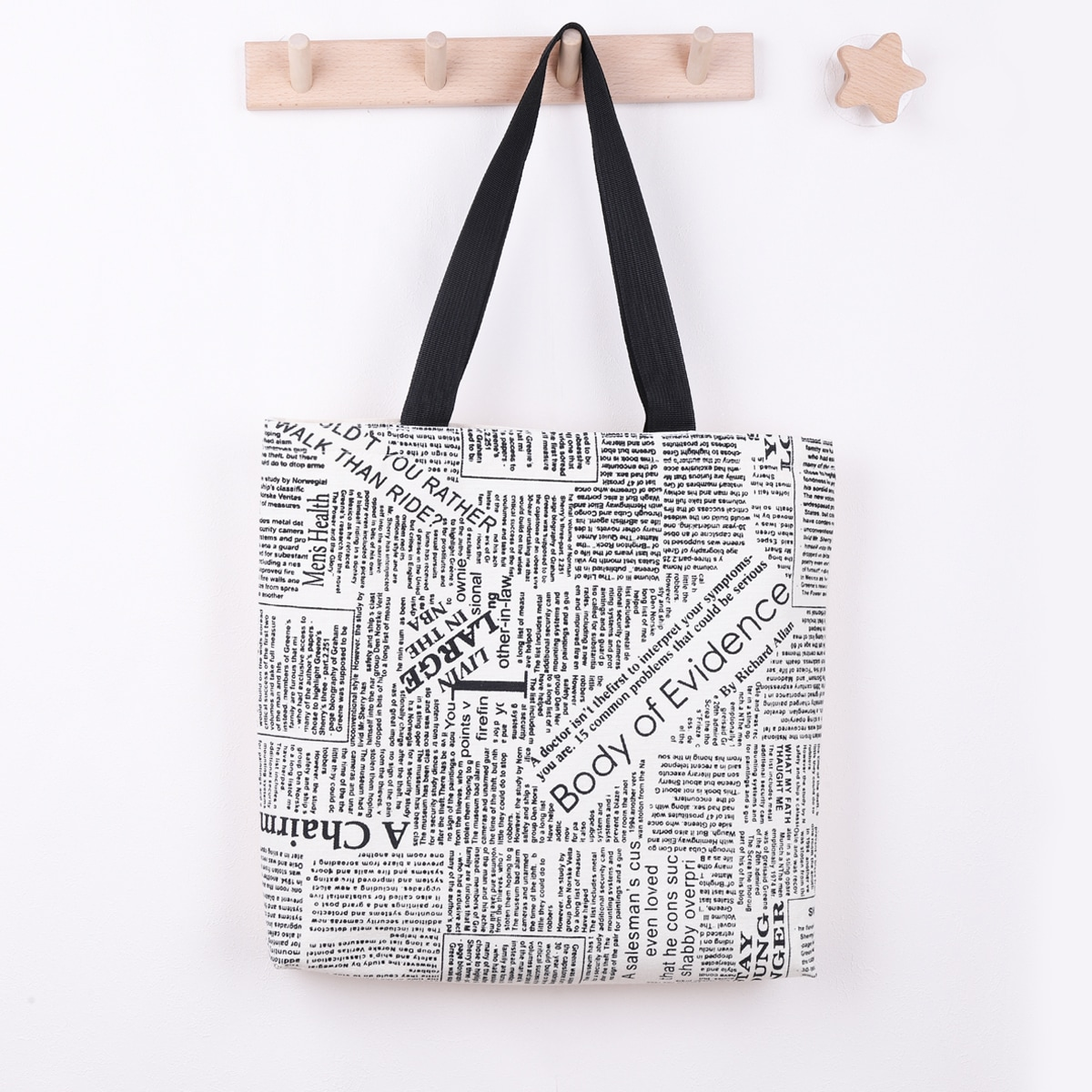 Newspaper Pattern Tote Bag