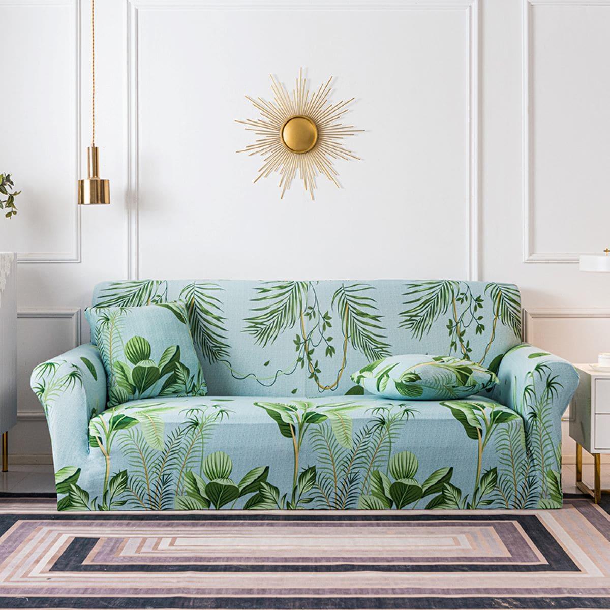 Эластичный чехол для дивана и 1шт чехол для подушки с принтом листьев без наполнителя