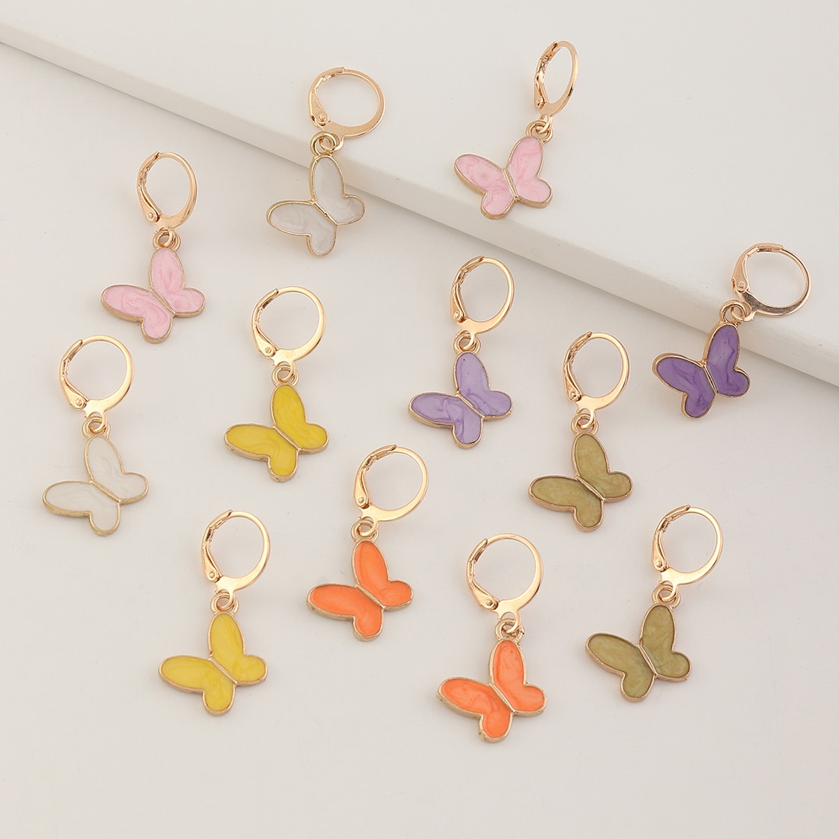 6 пар серьги-подвески с бабочкой для девочек