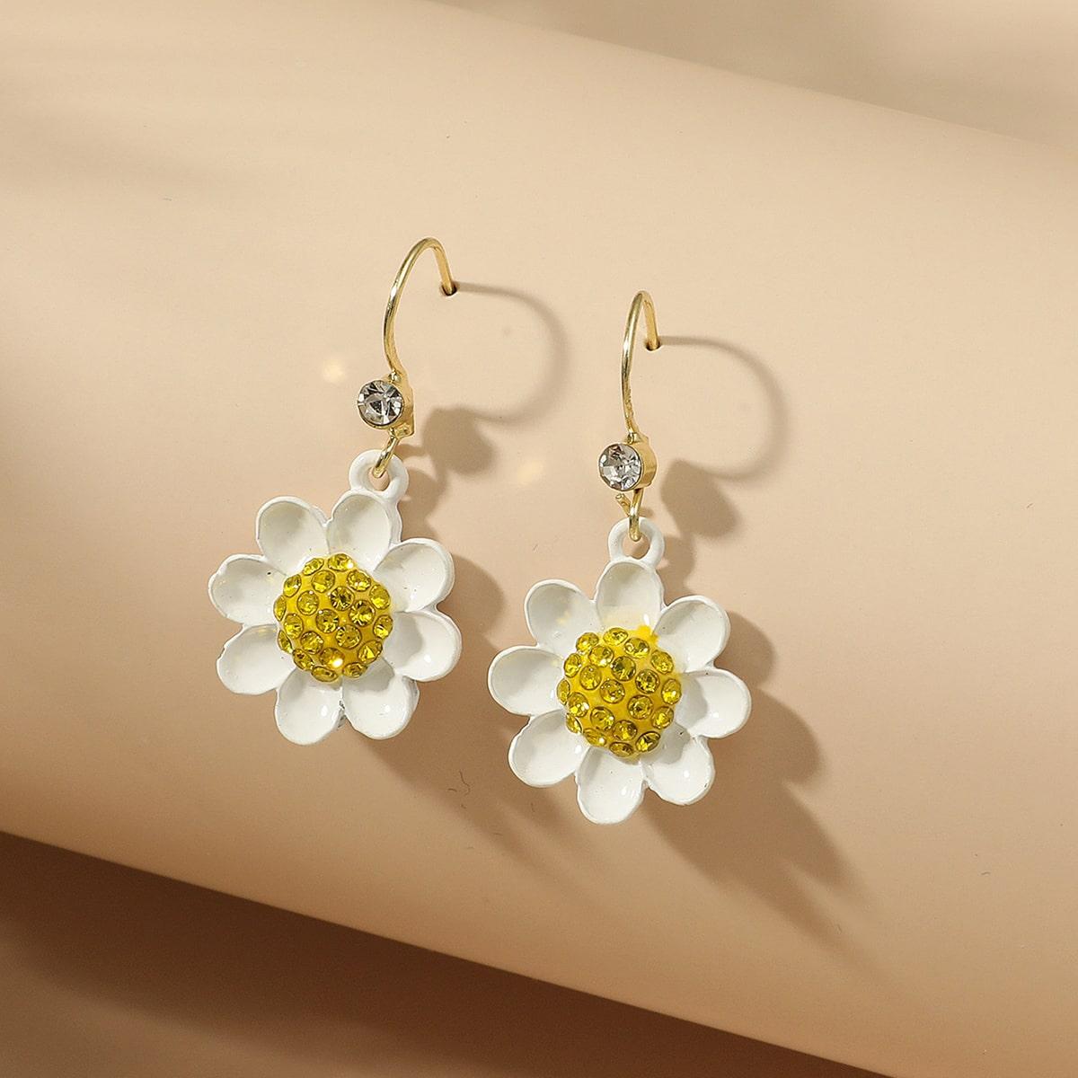 Серьги-подвески с цветком для девочек
