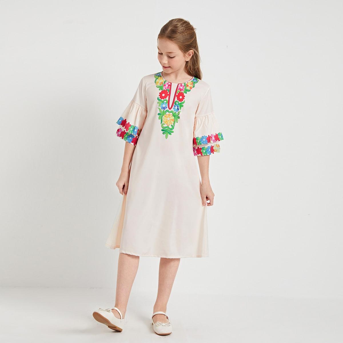 Tunika Kleid mit Blumen Muster und mehrschichtigen Schößchenärmeln