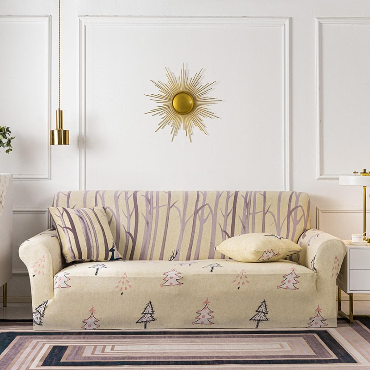 Эластичный чехол для дивана и 1шт чехол для подушки с принтом дерева без наполнителя
