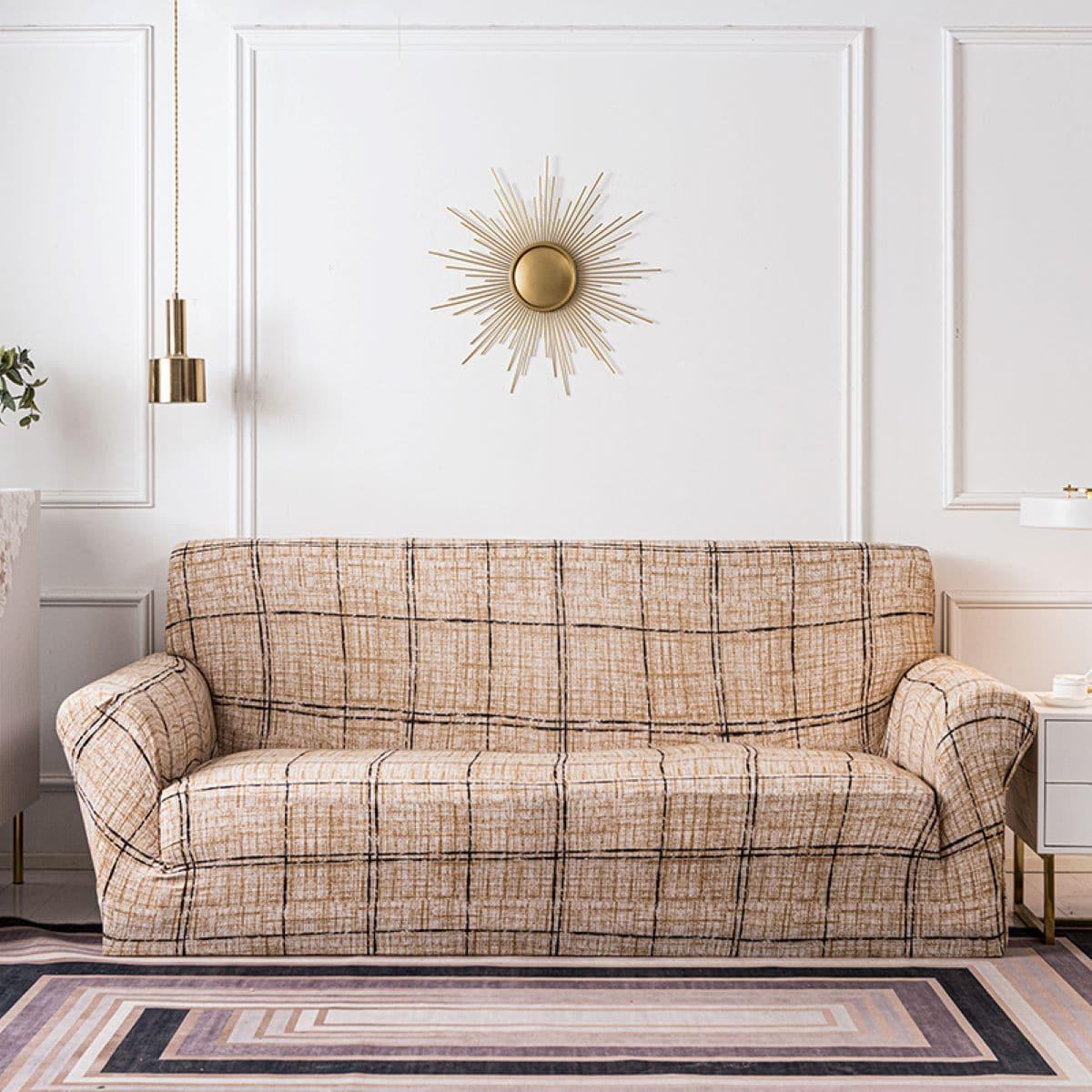 Эластичный чехол для дивана и 1шт чехол для подушки в клетку без наполнителя