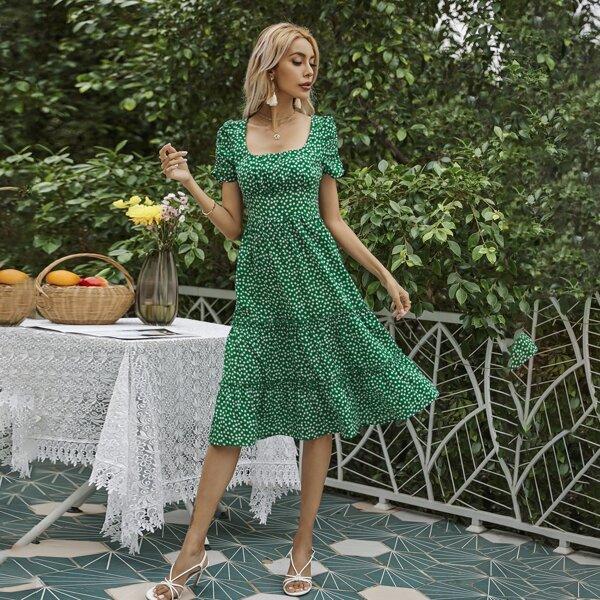Ditsy Floral Flounce Hem Dress, Green