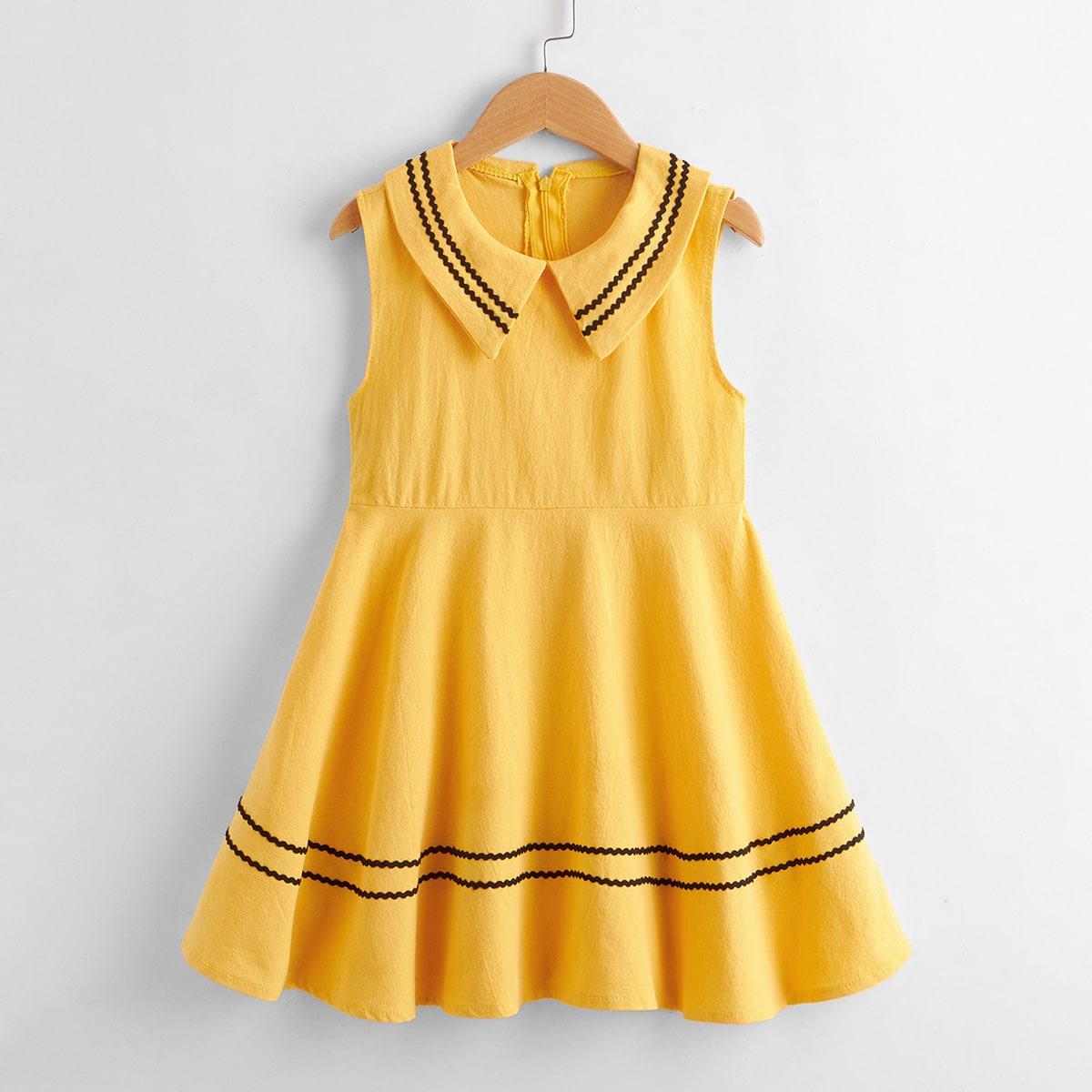 Girls Wave Striped Tape Peter Pan Collar Dress