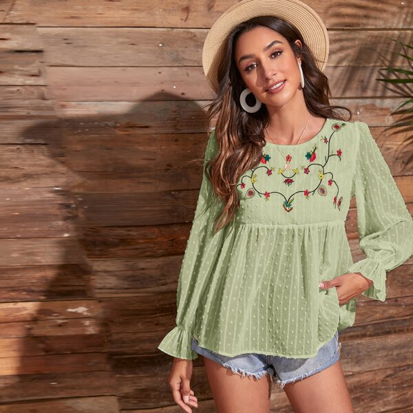 Floral Embroidered Swiss Dot Smock Blouse, Mint green