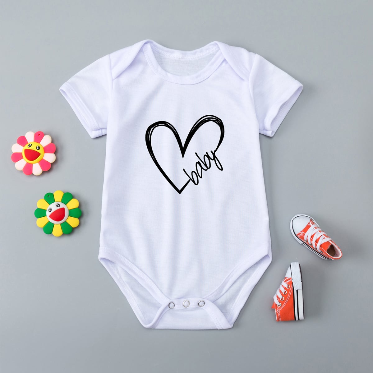Baby Unisex 1pc Letter & Heart Tee Bodysuit, SHEIN  - buy with discount