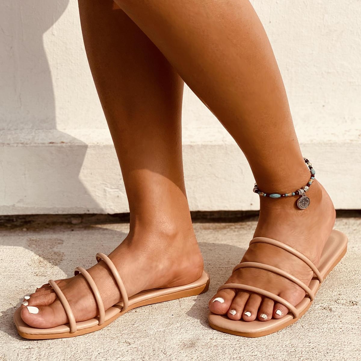 SHEIN / Minimalist Strappy Slide Sandals