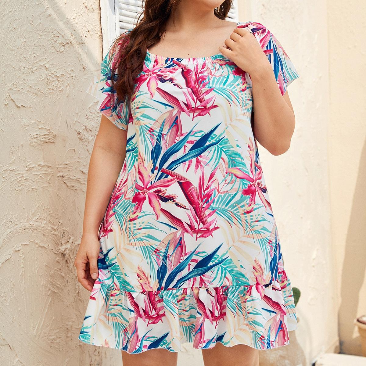 Plus Tropical Print Ruffle Hem Smock Dress