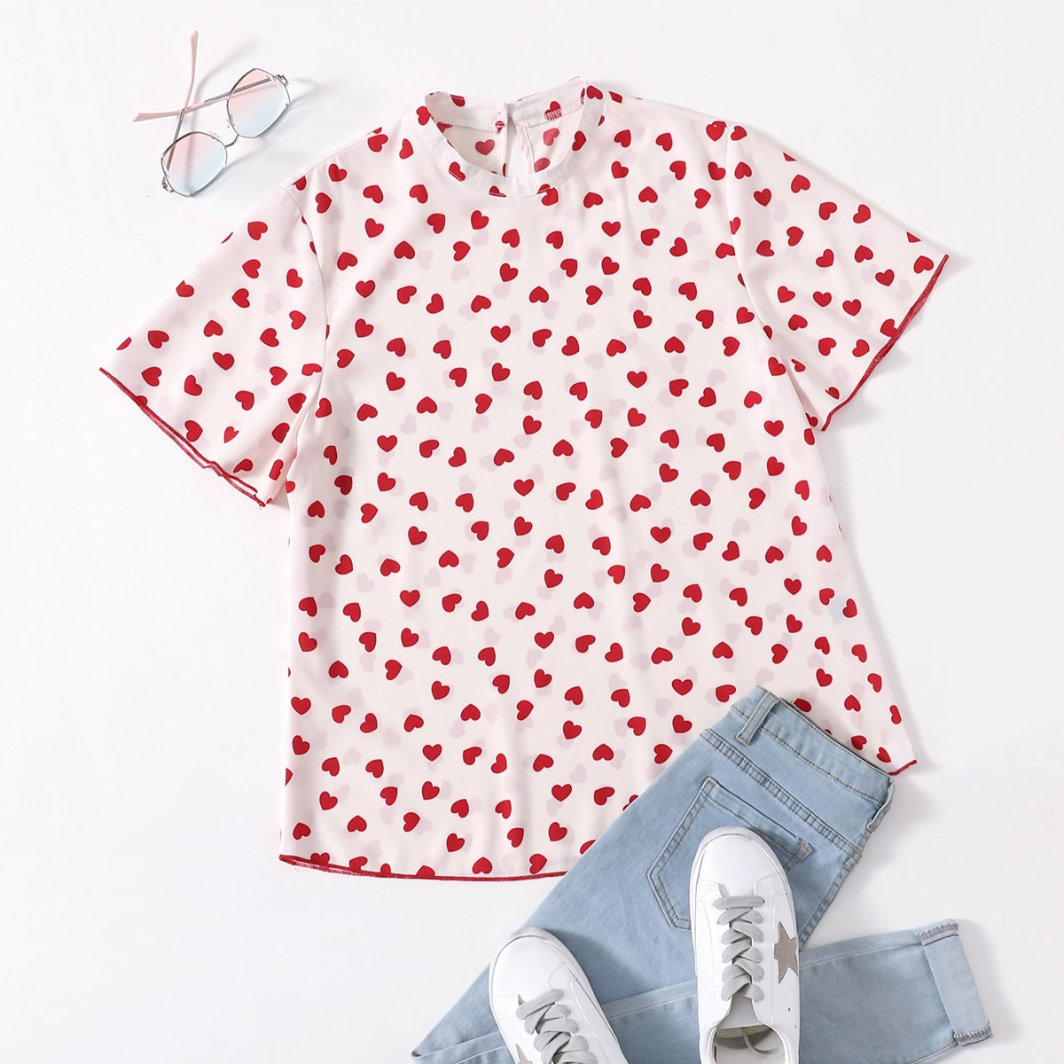 SHEIN Casual Hart Grote maat blouse Contrasterende Zomen