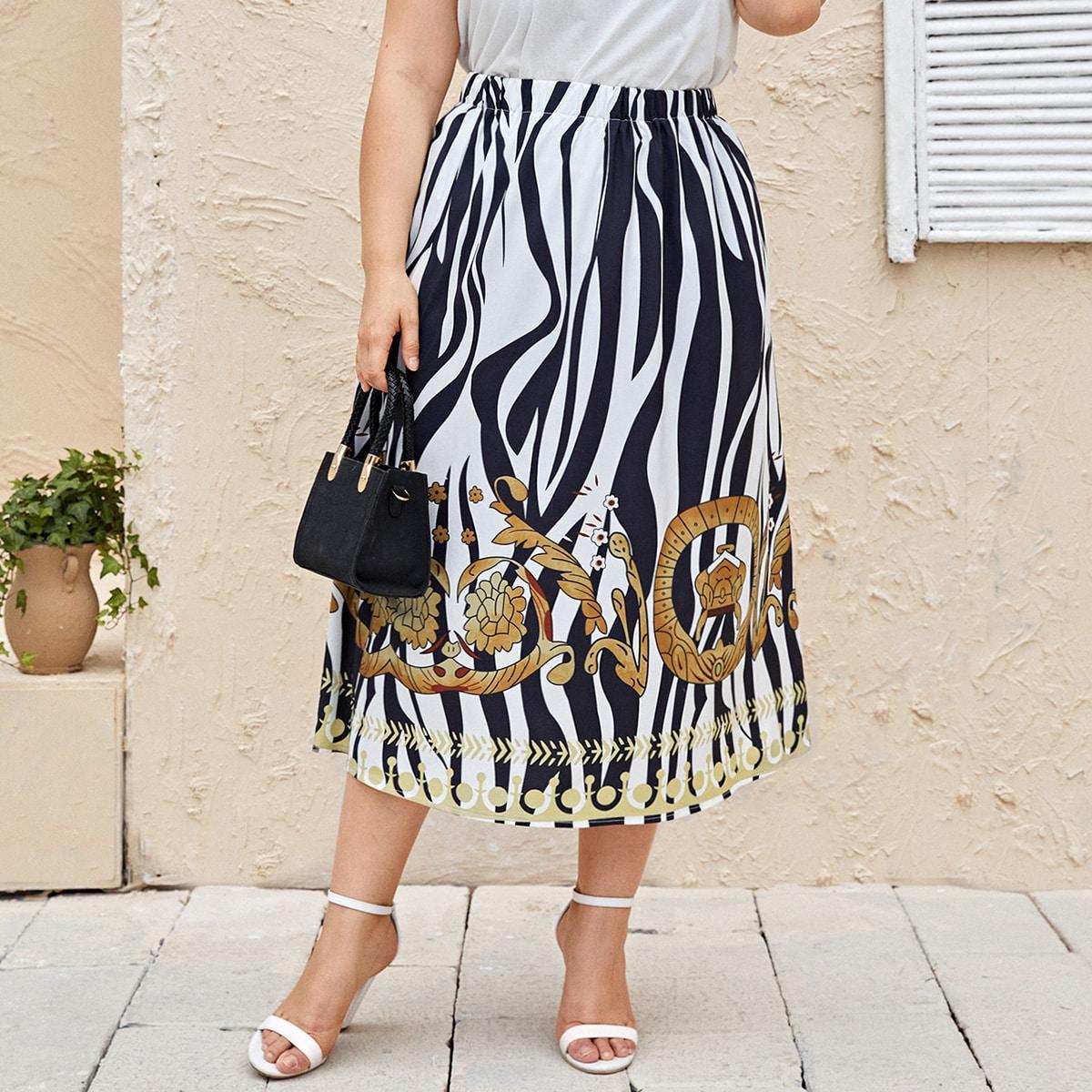 SHEIN / Plus Zebra Stripe And Floral Print High Waist Skirt