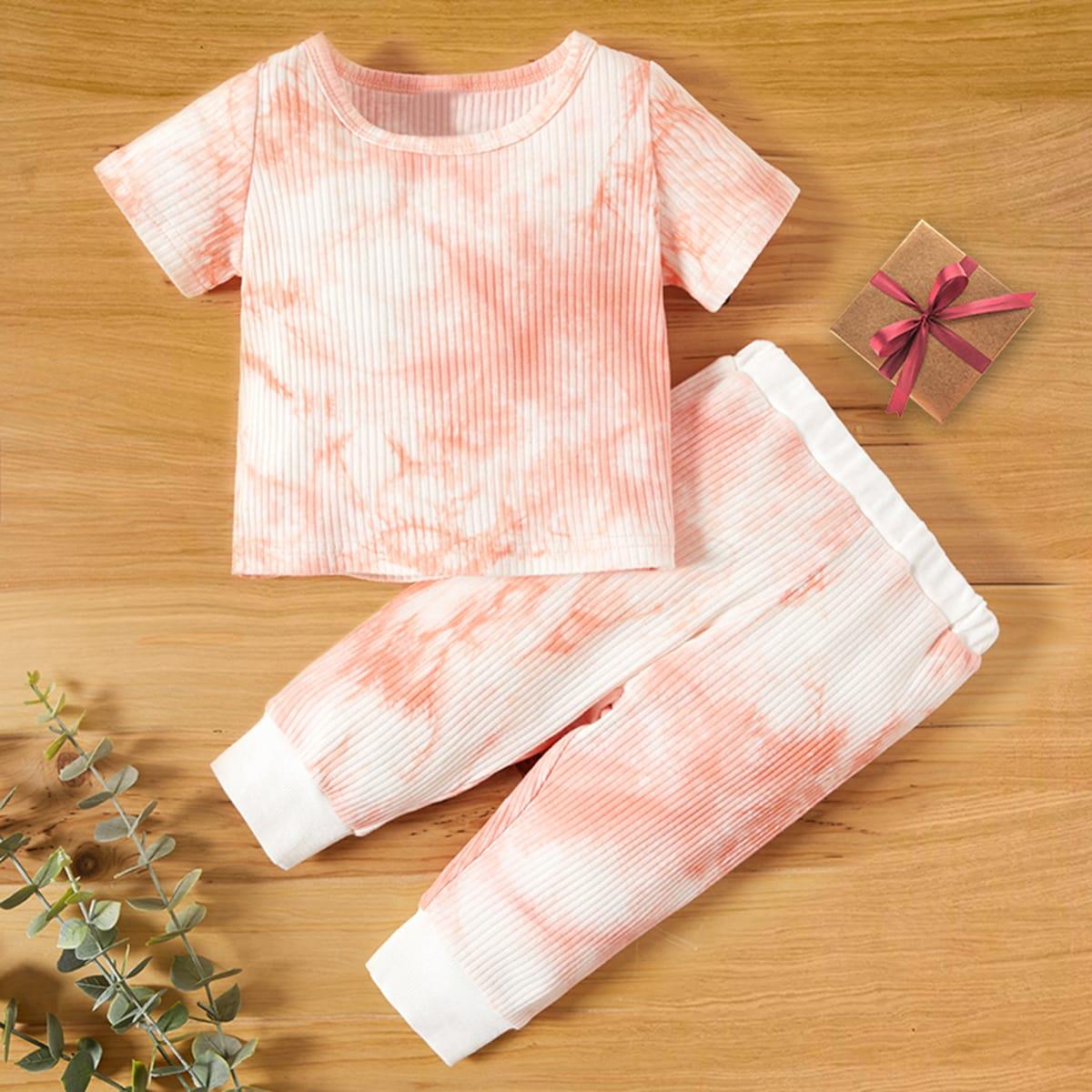 SHEIN Casual Tie dye Baby-setjes Geplisseerde