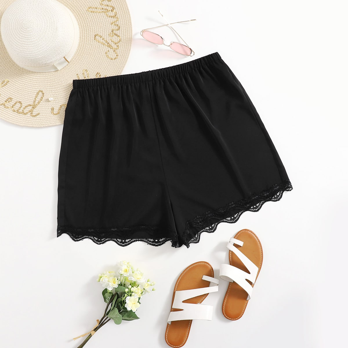 SHEIN Casual Vlak Short grote maat Contract kant
