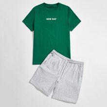 Guys Letter Graphic Tee & Drawstring Waist Shorts Set