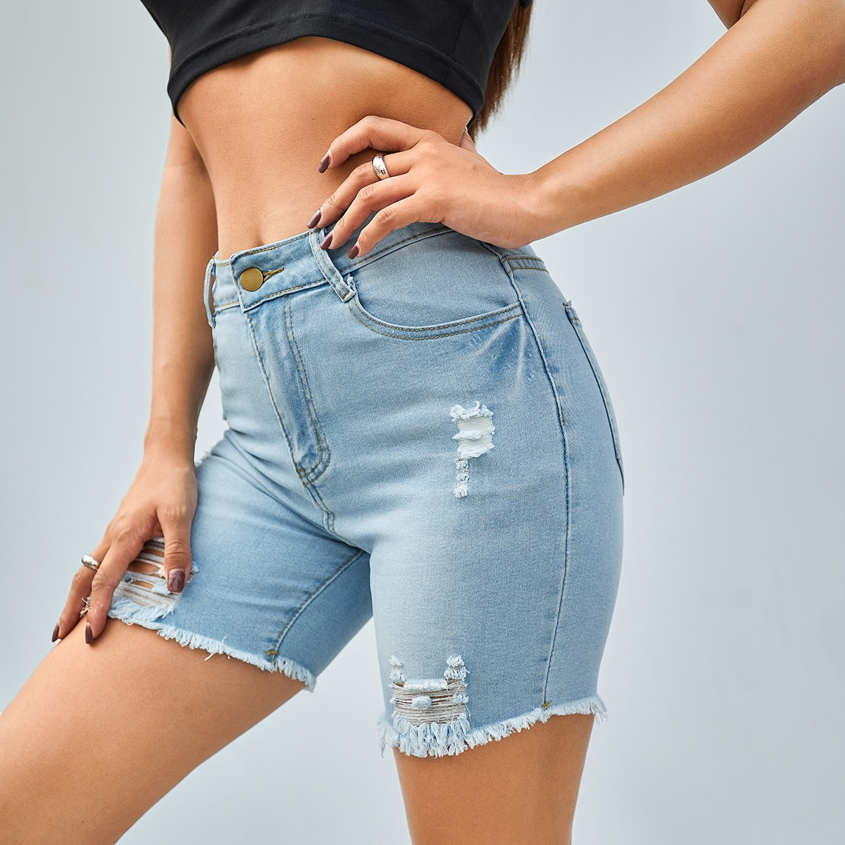 SHEIN Vlak Denim shorts Knoop