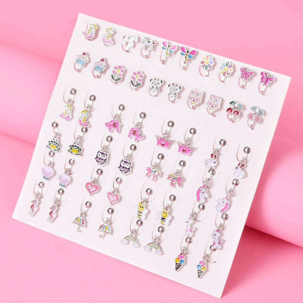 26 пар серьги с сердечком и радугой для девочек