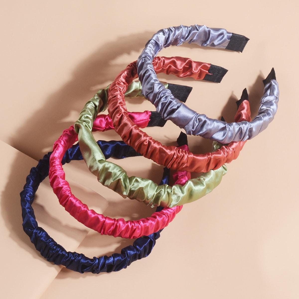 5 Stücke Kleinkind Mädchen Einfarbiges Stirnband mit Rüschen