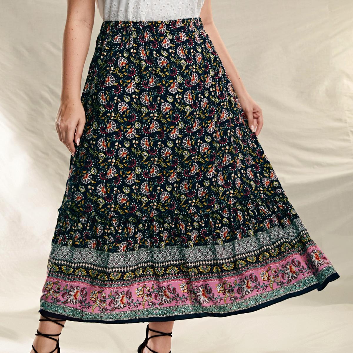SHEIN / Plus Frill Trim Allover Floral Skirt