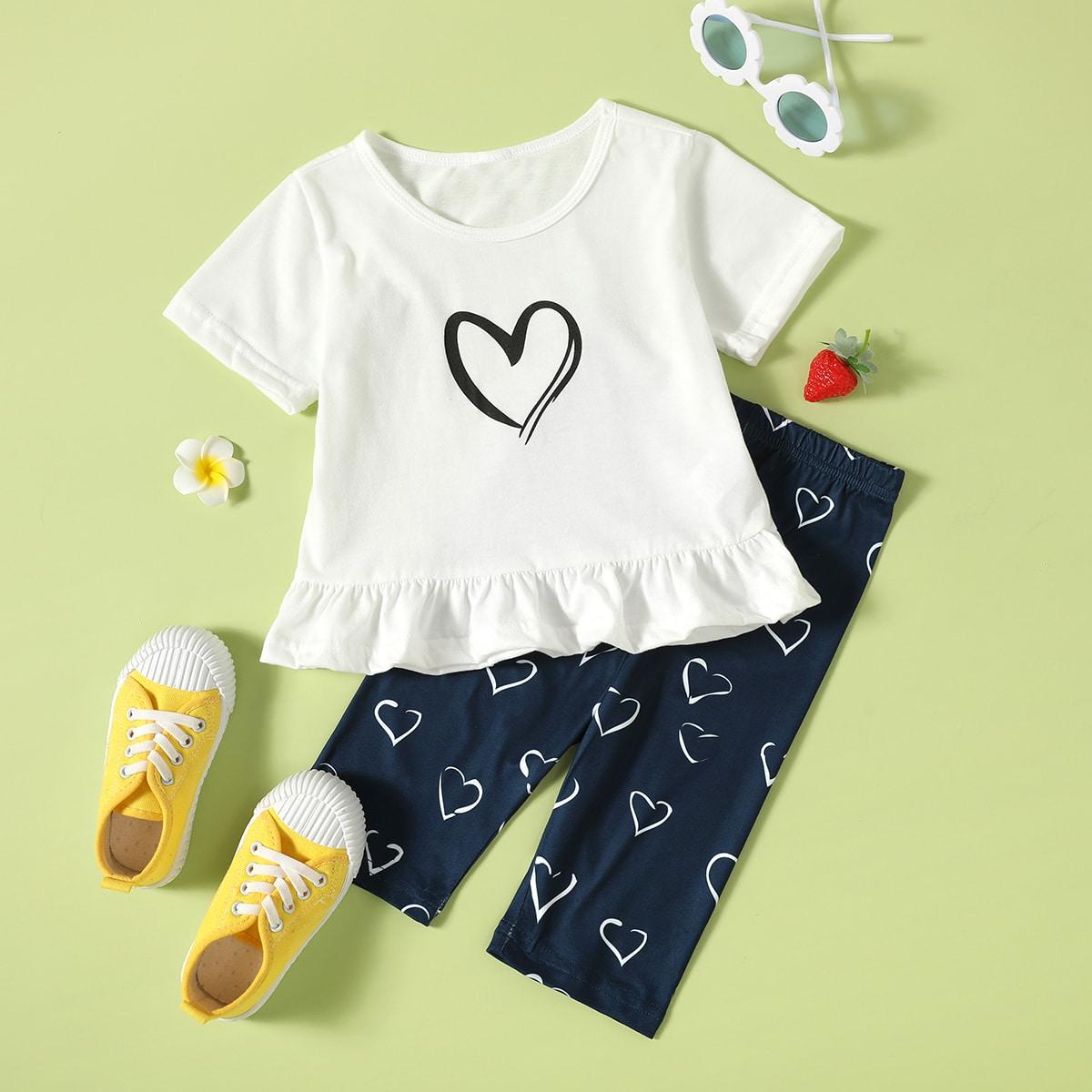 Пижама с оборкой и принтом сердечка для девочек