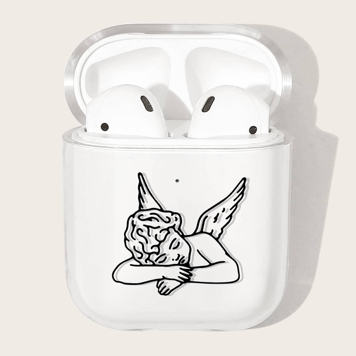 Прозрачный чехол для Airpods с узором ангела