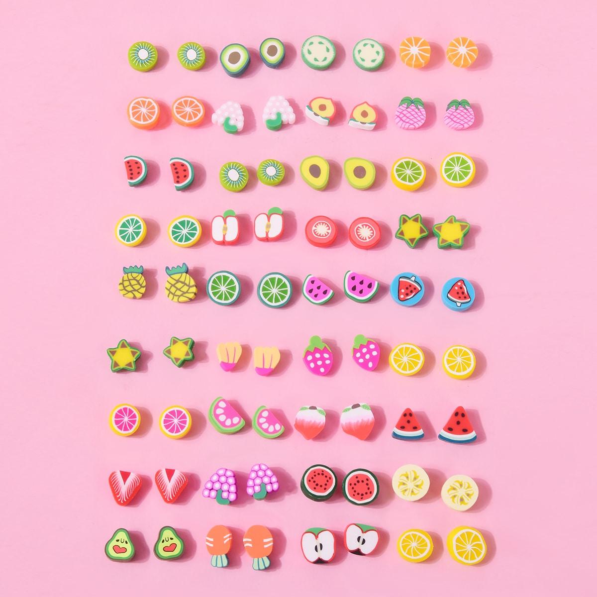 36 пар серьги-гвоздики в форме случайных фруктов для девочек