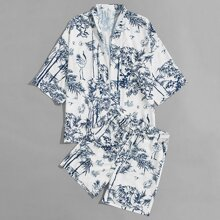 Guys Plants Print Kimono & Drawstring Shorts