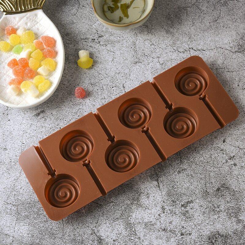 1pc 6 Grid Lollipop Mold, Chocolate brown