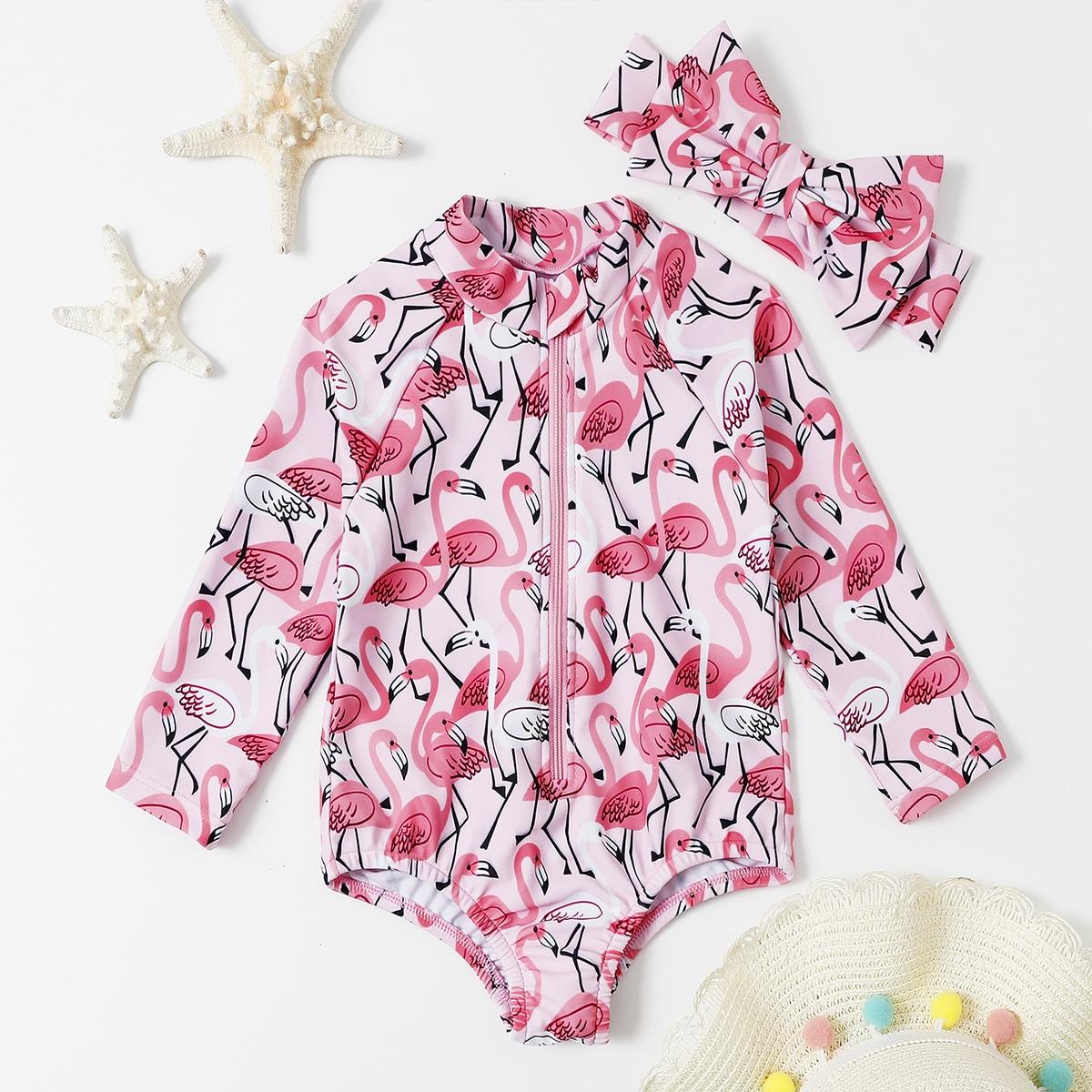 Слитный купальник и повязка на голову с принтом случайного фламинга для девочек