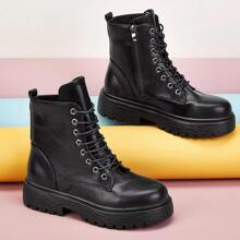 Zipper Side Combat Boots
