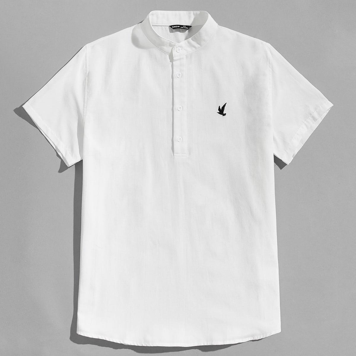 Men Embroidery Bird Half Button Placket Shirt, SHEIN  - buy with discount