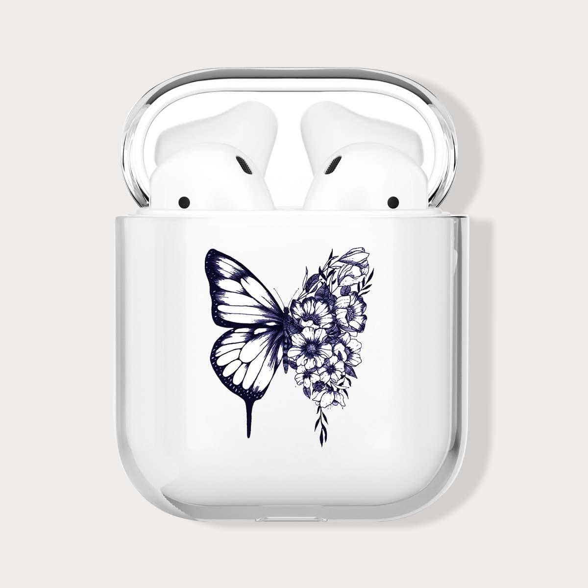 Прозрачный чехол для Airpods с принтом цветка и бабочки