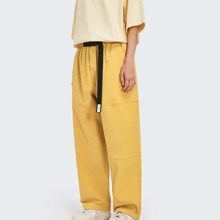 Guys Push Buckle Strap Patched Detail Pants