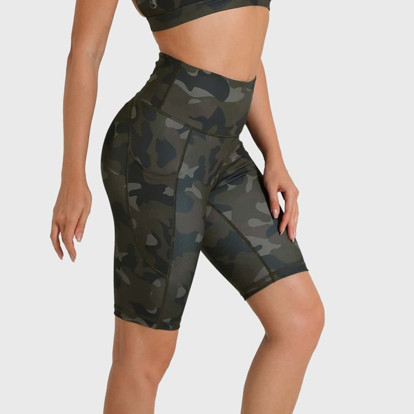 Camo Pocket Side Wide Waistband Sports Biker Shorts, Multicolor