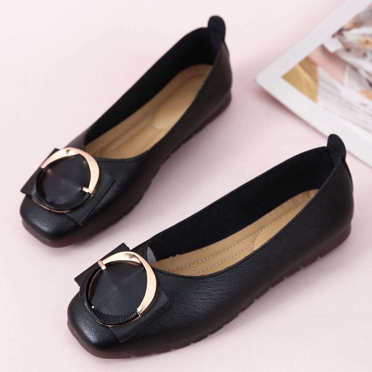 Zapatillas de ballet de punta cuadrada con hebilla