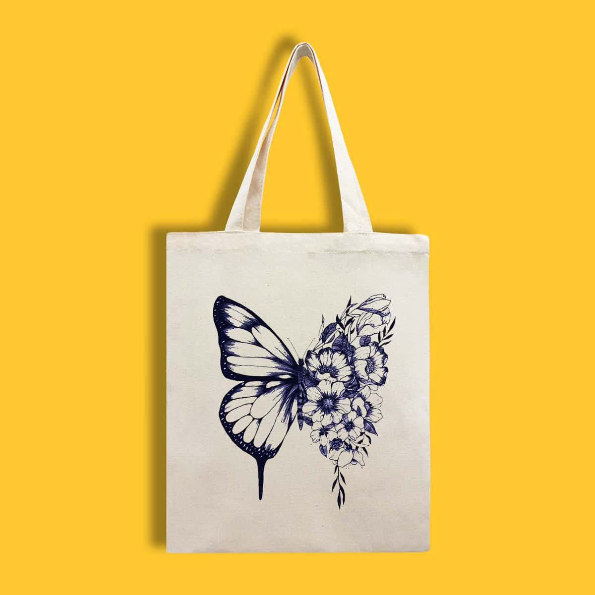 Floral & Butterfly Graphic Shopper Bag