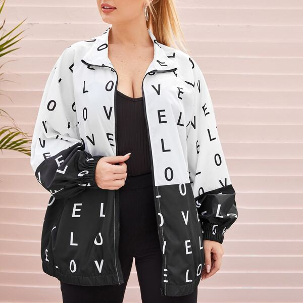 Plus Raglan Sleeve Zip Up Letter Graphic Two Tone Jacket, Black and white