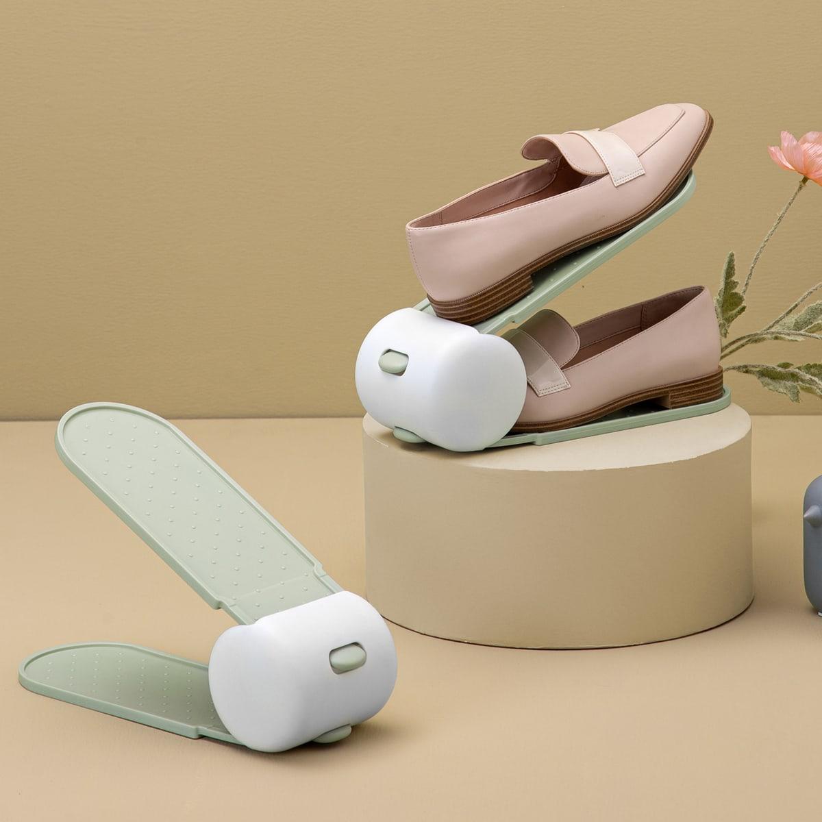 1шт двухслойный стеллаж для хранения обуви