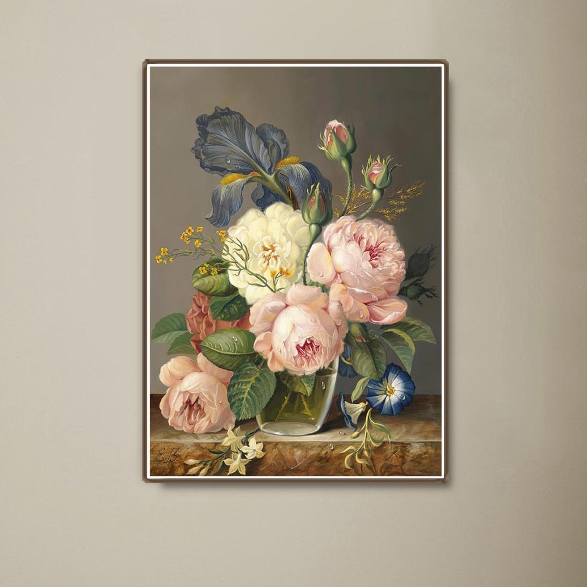 Алмазная живопись с цветочным узором без рамки