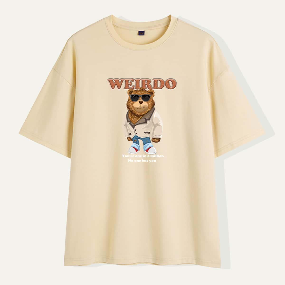 Maglietta a manica corta da uomo con lettera e fumetto