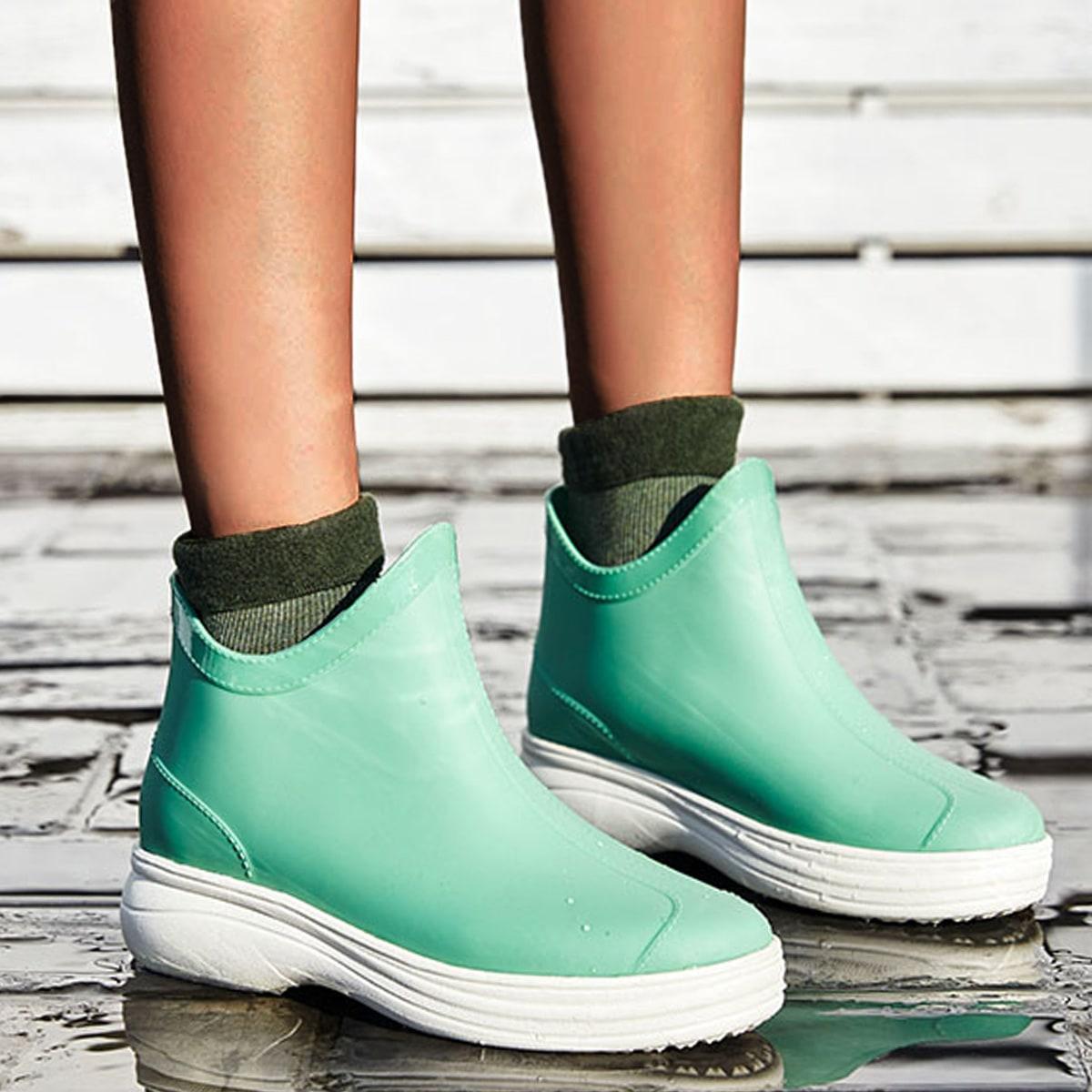 Обуви без шнурков Одноцветный Модный Сапоги