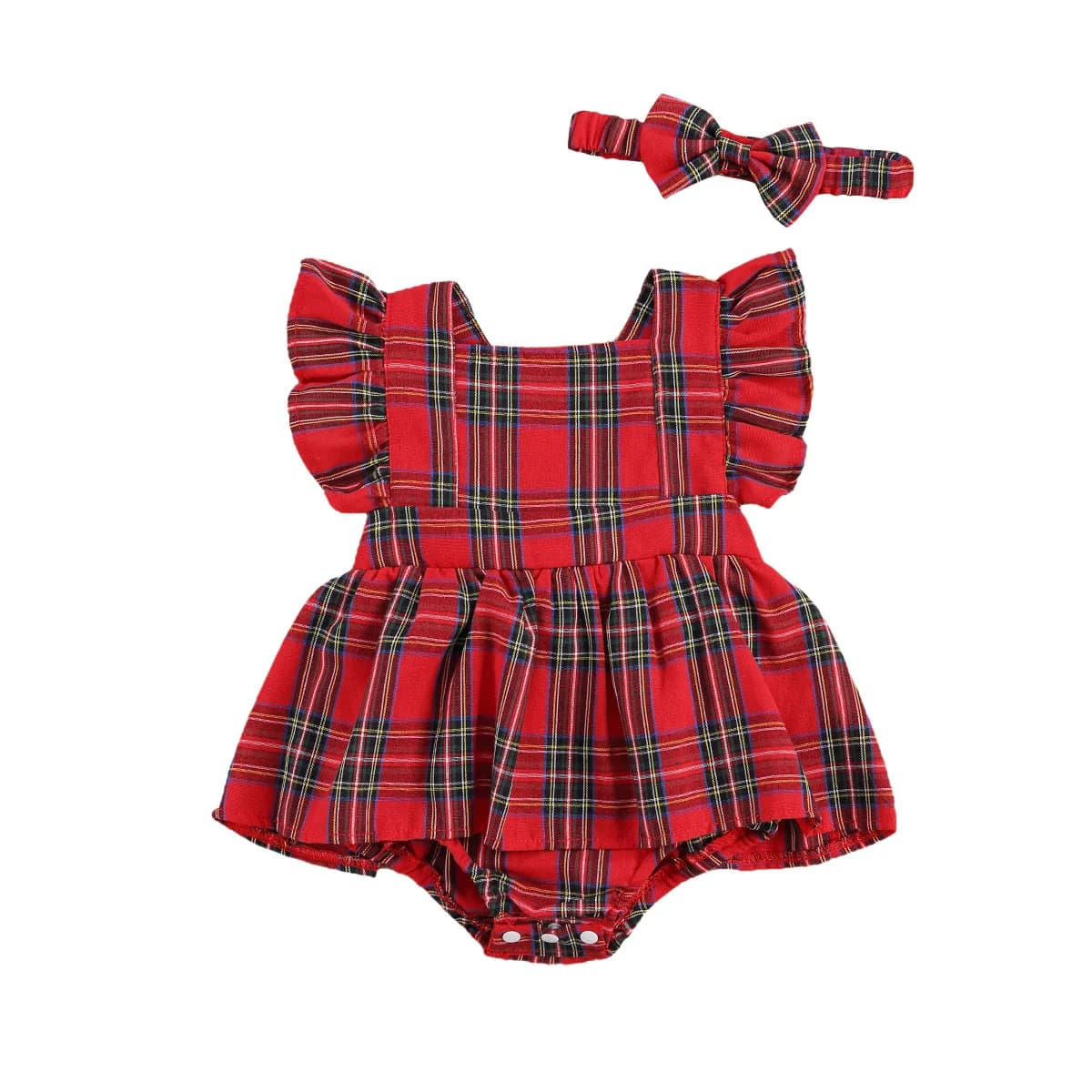 для девочек в клетку Составной комплект Боди Платье & Ободок для волос от SHEIN