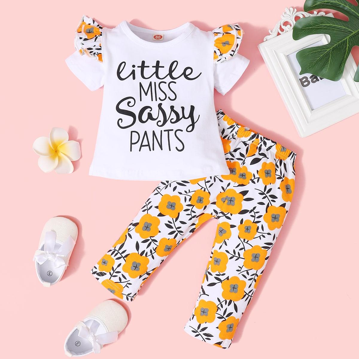 SHEIN Schattig Bloemen Baby-setjes Rimpeling