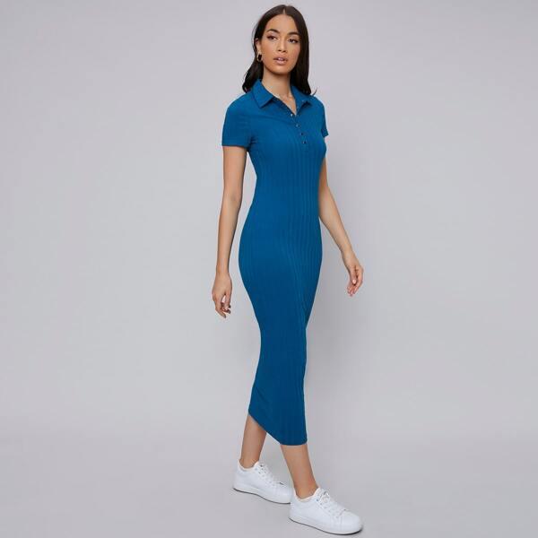 Collared Press Buttoned Half Placket Rib-knit Dress, Blue