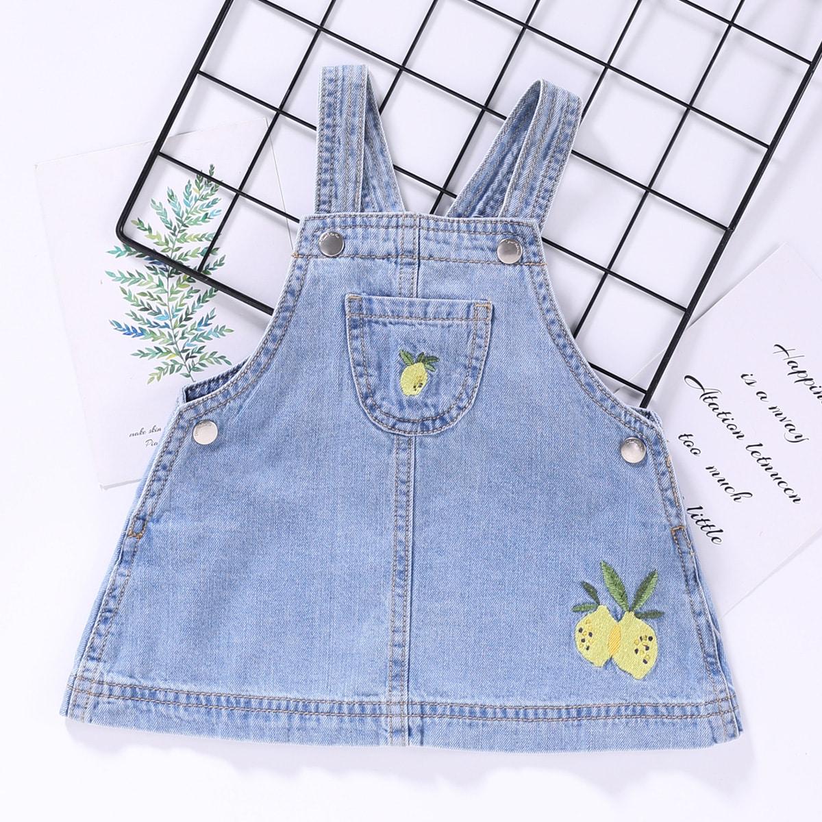 Джинсовое платье-сарафан с вышивкой лимона для девочек от SHEIN