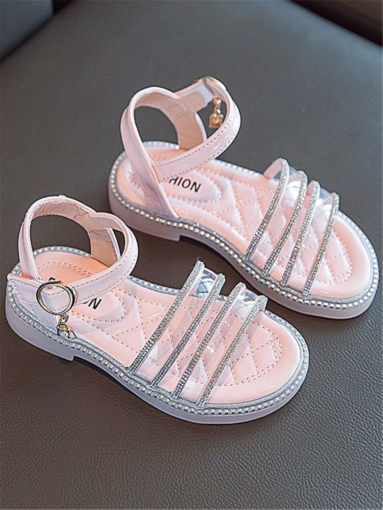 Girls Clear Rhinestone Decor Sandals